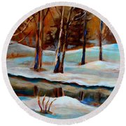 Trees At The Rivers Edge Round Beach Towel