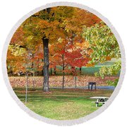 Trees Begins Autumn Color Round Beach Towel