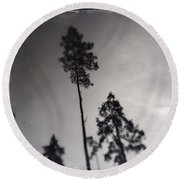 Trees Black And White Wetplate Round Beach Towel