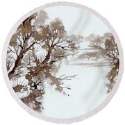 Trees By A River Round Beach Towel