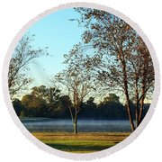 Trees By The Water Round Beach Towel