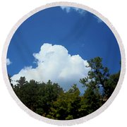 Trees, Clouds, And Sky Round Beach Towel