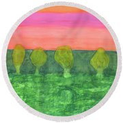 Trees, Green And Evening Sky Round Beach Towel