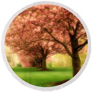 Trees In A Row Round Beach Towel