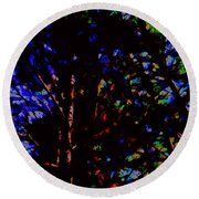 Trees In Abstract 3 Round Beach Towel