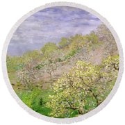 Trees In Blossom Round Beach Towel