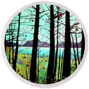 Trees In Fall Round Beach Towel