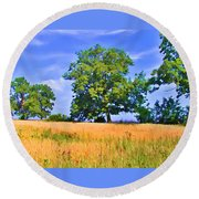 Trees In Field Round Beach Towel