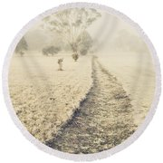 Trees In Fog And Mist Round Beach Towel