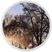 Trees In Ice Series Round Beach Towel