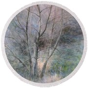 Trees In Light Round Beach Towel