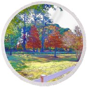 Trees In Park 1 Round Beach Towel