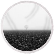 Trees In The Fog 1 Of 4 - Lombardy / Italy Round Beach Towel