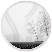 Trees In The Fog 2 Of 4 - Lombardy / Italy Round Beach Towel