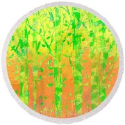 Trees In The Grass Round Beach Towel