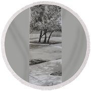 Trees In The Park Round Beach Towel
