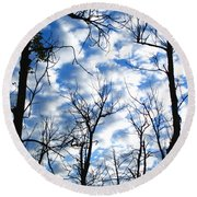 Trees In The Sky Round Beach Towel