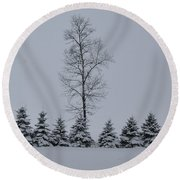 Trees In The Snow Round Beach Towel