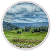 Trees In The Valley Round Beach Towel