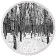Trees In Winter Snow, Black And White Round Beach Towel
