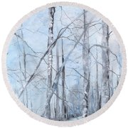 Trees In Winter Snow Round Beach Towel