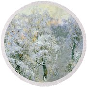 Trees In Wintry Silver Round Beach Towel