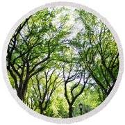 Trees Of Central Park, Nyc Round Beach Towel