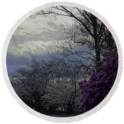 Trees Of Spring Round Beach Towel