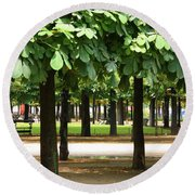 Trees Of Tuilieres Round Beach Towel