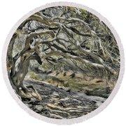 Trees Of Ziarat Round Beach Towel