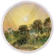 Trees On Hampstead Heath At Sunset Round Beach Towel