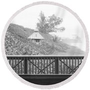 Trees On The Hill Round Beach Towel