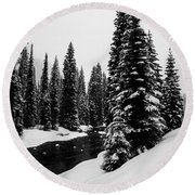 Trees On The River Round Beach Towel
