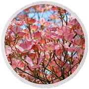 Trees Pink Spring Dogwood Flowers Baslee Troutman Round Beach Towel