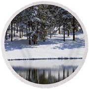 Trees Reflecting In Duck Pond In Colorado Snow Round Beach Towel
