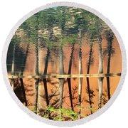 Trees Reflecting Round Beach Towel
