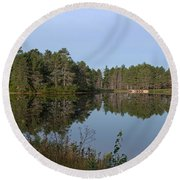 Trees Reflecting Round Beach Towel