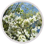 Trees Sunlit White Dogwood Art Print Botanical Baslee Troutman Round Beach Towel