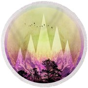 Trees Under Magic Mountains IIi Round Beach Towel