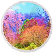 Trees With Color Round Beach Towel