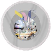 Trendy Design New York City Geometric Mix No 1 Round Beach Towel
