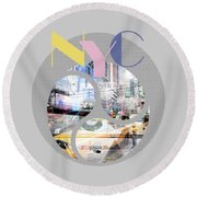 Trendy Design New York City Geometric Mix No 1 Round Beach Towel by Melanie Viola