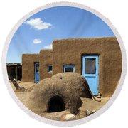 Tres Casitas Taos Pueblo Round Beach Towel