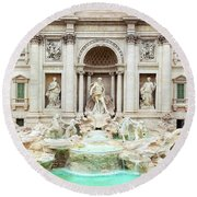 Trevi Fountain, Fontana Di Trevi, After The Restoration Of 2015  Round Beach Towel