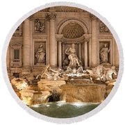 Trevi Fountain Round Beach Towel