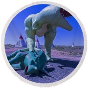 Trex And Triceratops  Round Beach Towel