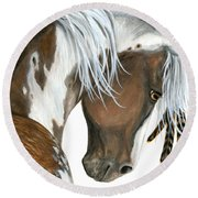 Tri Colored Pinto Horse Round Beach Towel