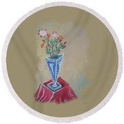 Triangle Flower Pot Round Beach Towel