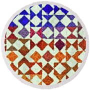 Triangles Impressionism Painting Round Beach Towel