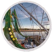 Triangles In The Harbor Round Beach Towel